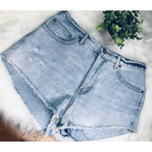 Free People Destroyed Mom Jean Shorts Size 29